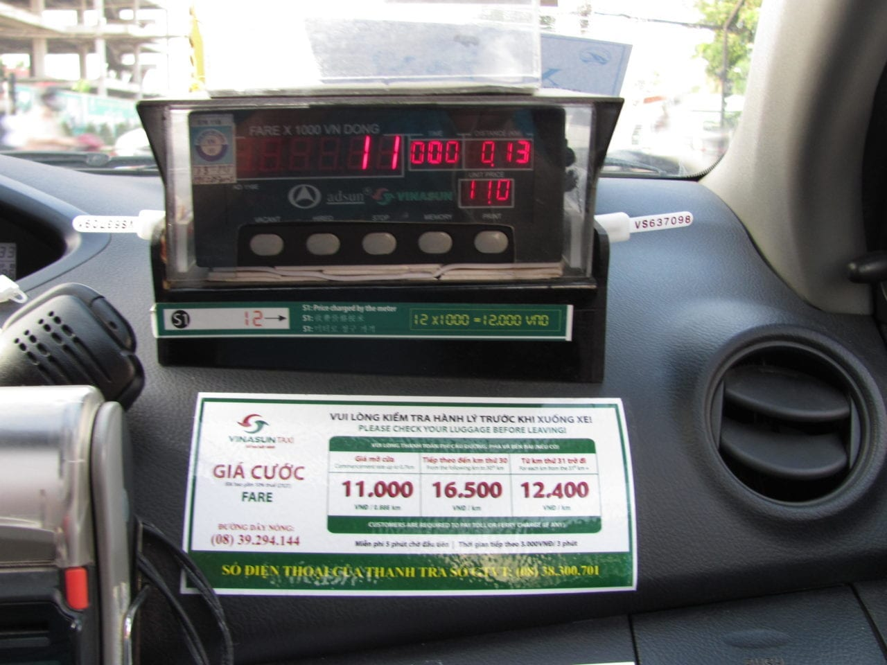 Counter in Vietnamese taxi