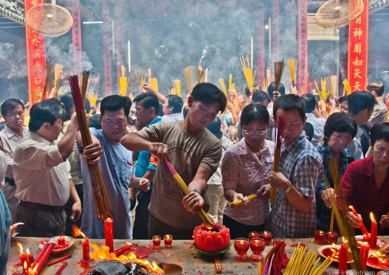 People Prepearing for Tet Festival
