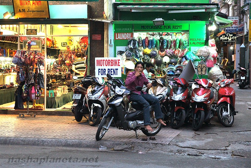 Motorbike rental in the street