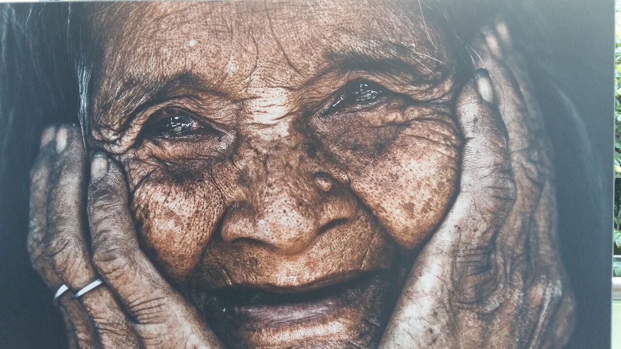 Vietnamese grandmother smiling