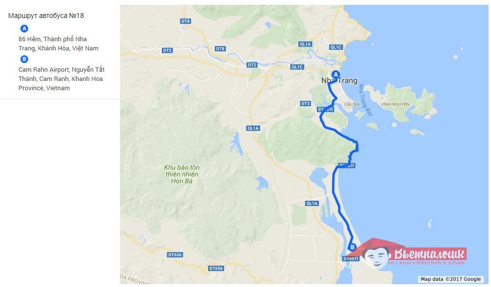Route of bus #18 (Nha Trang - Cam Ran Airport)