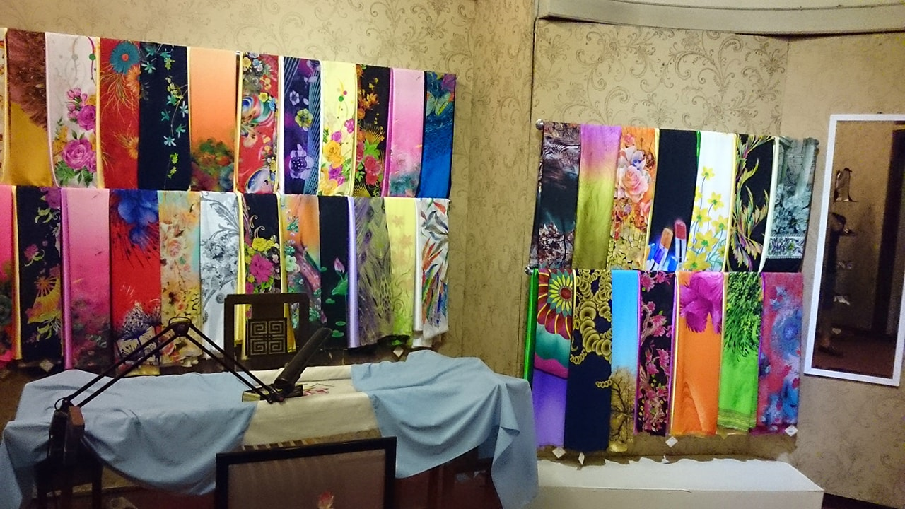 Silk-embroidered fabrics