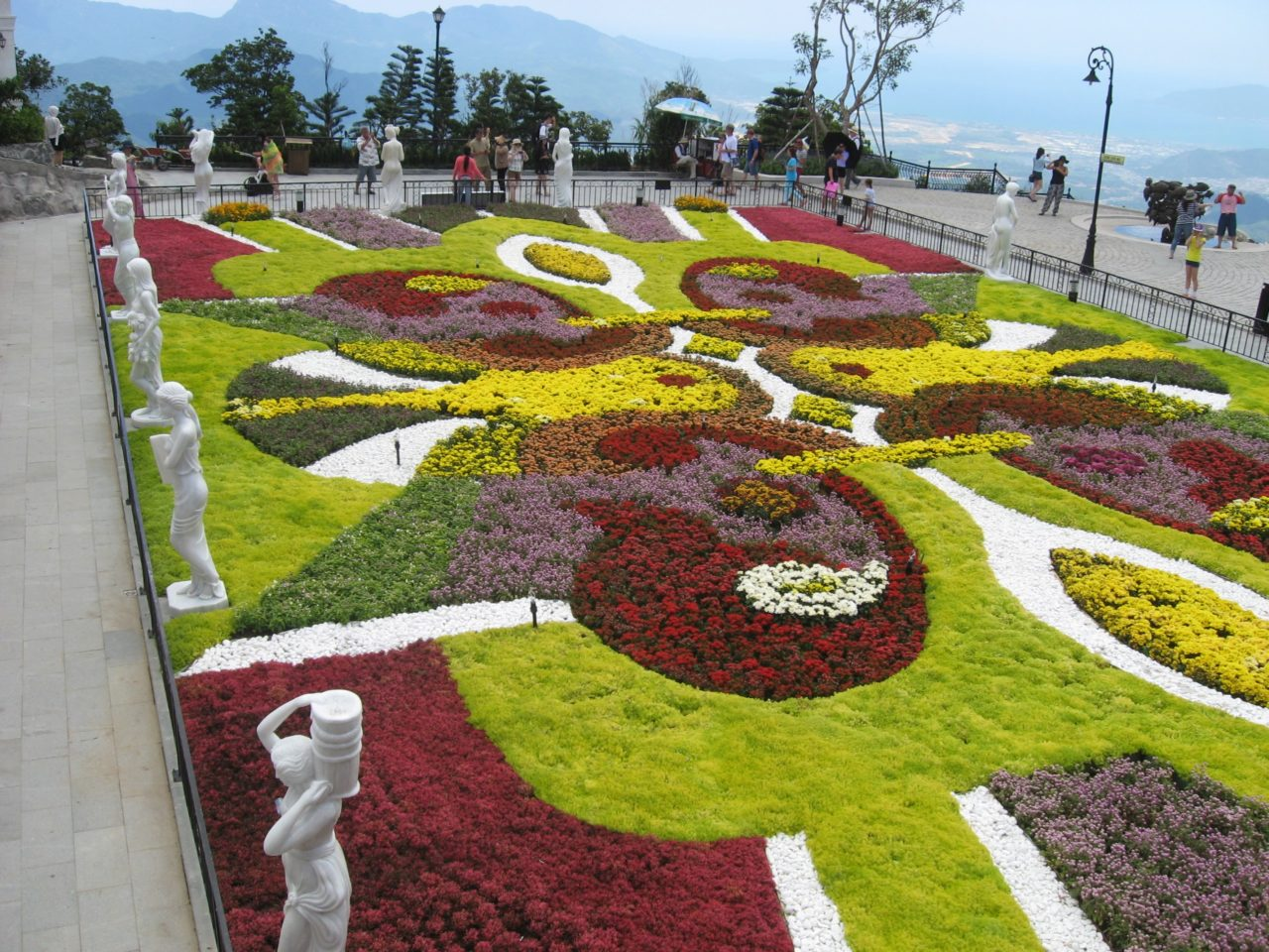 Park with flower beds