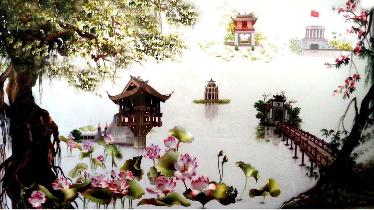Вьетнамские картины из шелка