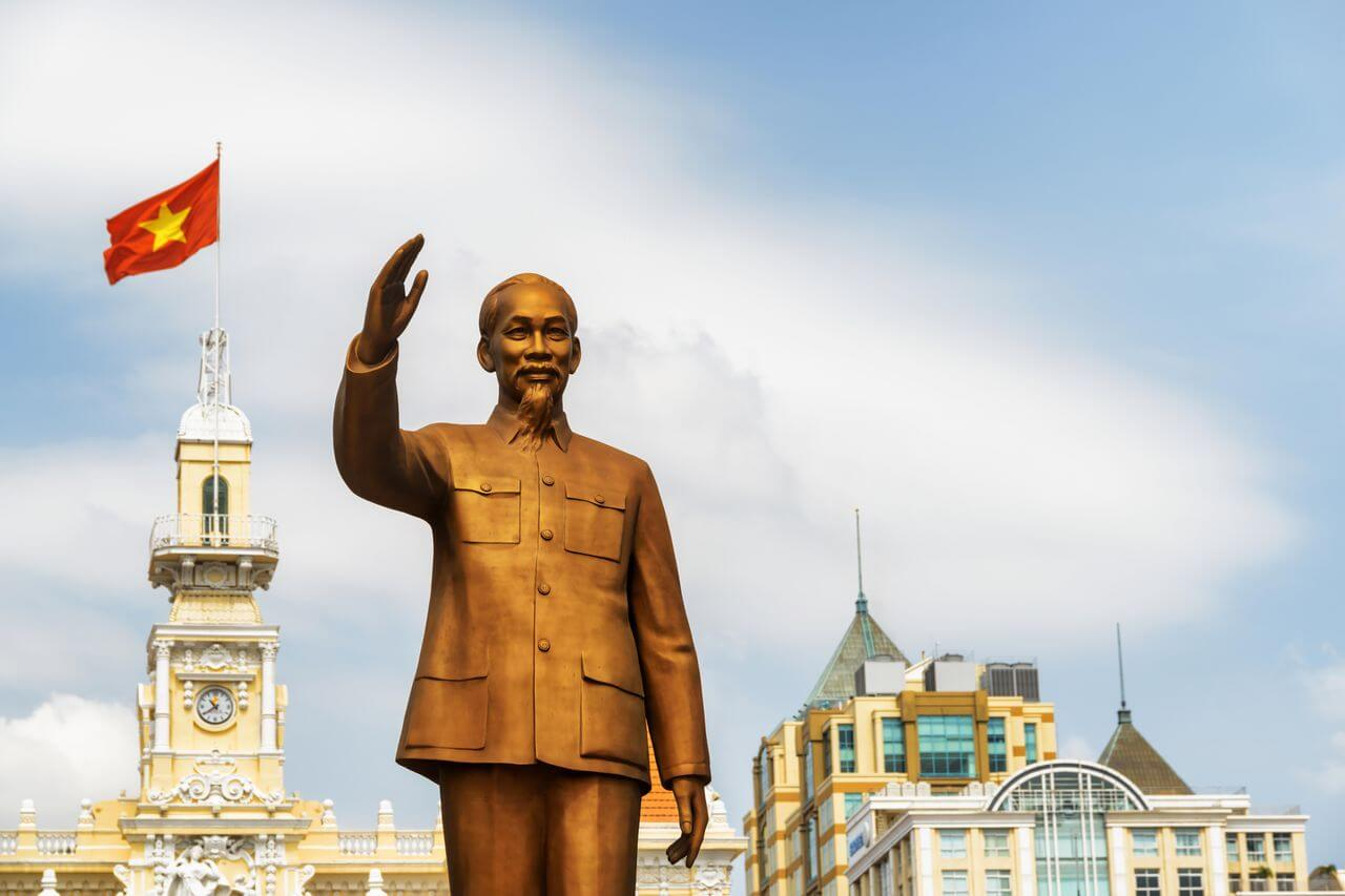 Bronze statue of Ho Chi Minh in Vietnam (Saigon)